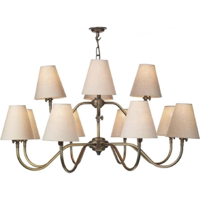 Artisan Lighting HICKS large 12 arm Victorian ceiling light in antique brass with linen shades