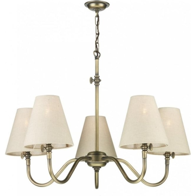 Artisan Lighting HICKS Victorian ceiling light in antique brass with linen shades