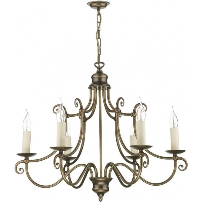 Artisan Lighting HIDCOTE 6 light traditional aged brass candle style chandelier