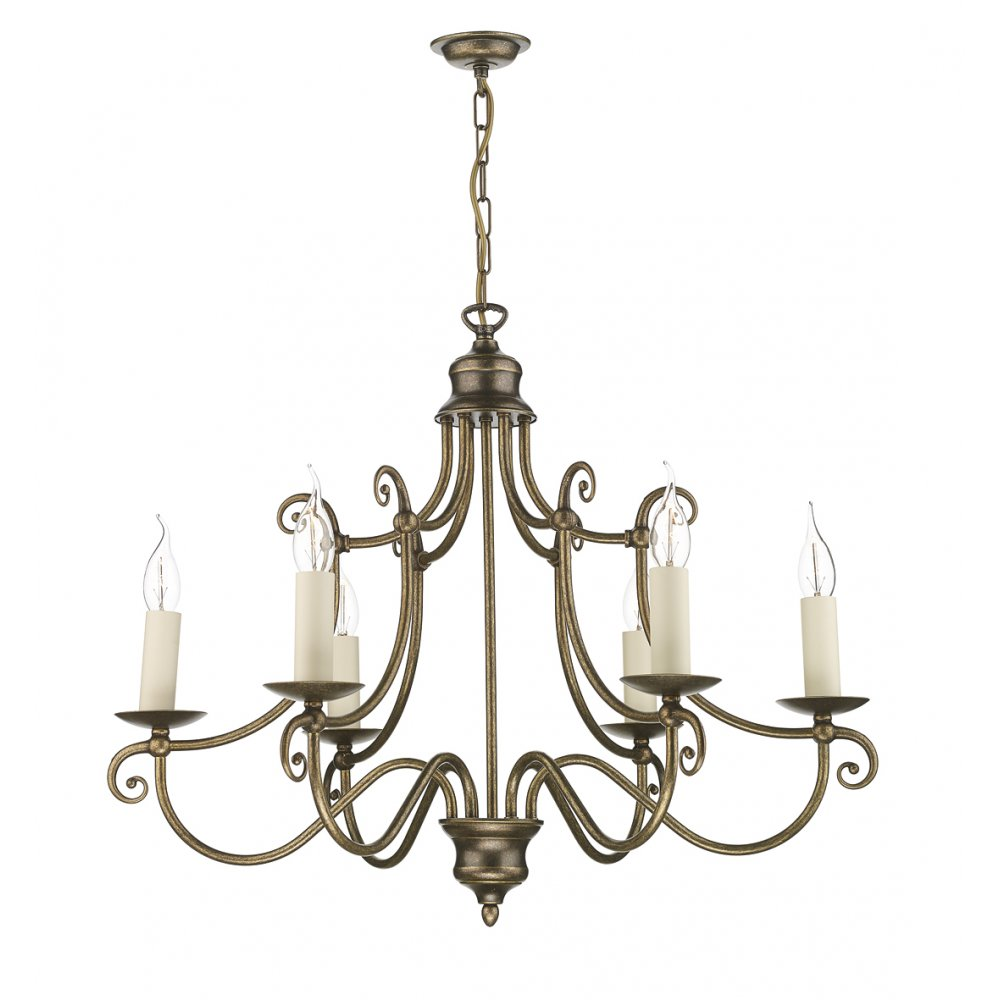 Traditional lighting for high ceilings hidcote 6 arm in aged brass - Popular chandelier styles ...