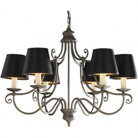 HIDCOTE aged brass 6 light chandelier with black shades