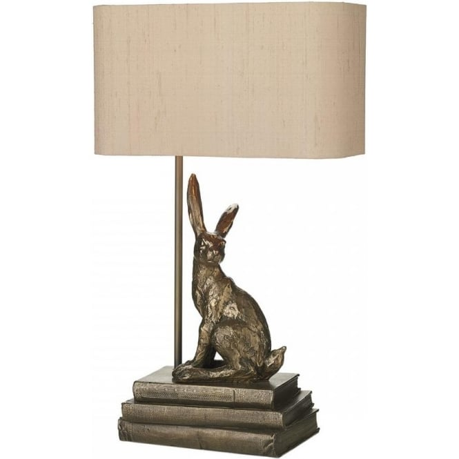 Artisan Lighting HOPPER bronze hare table lamp with shade
