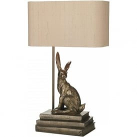 HOPPER bronze hare table lamp with shade