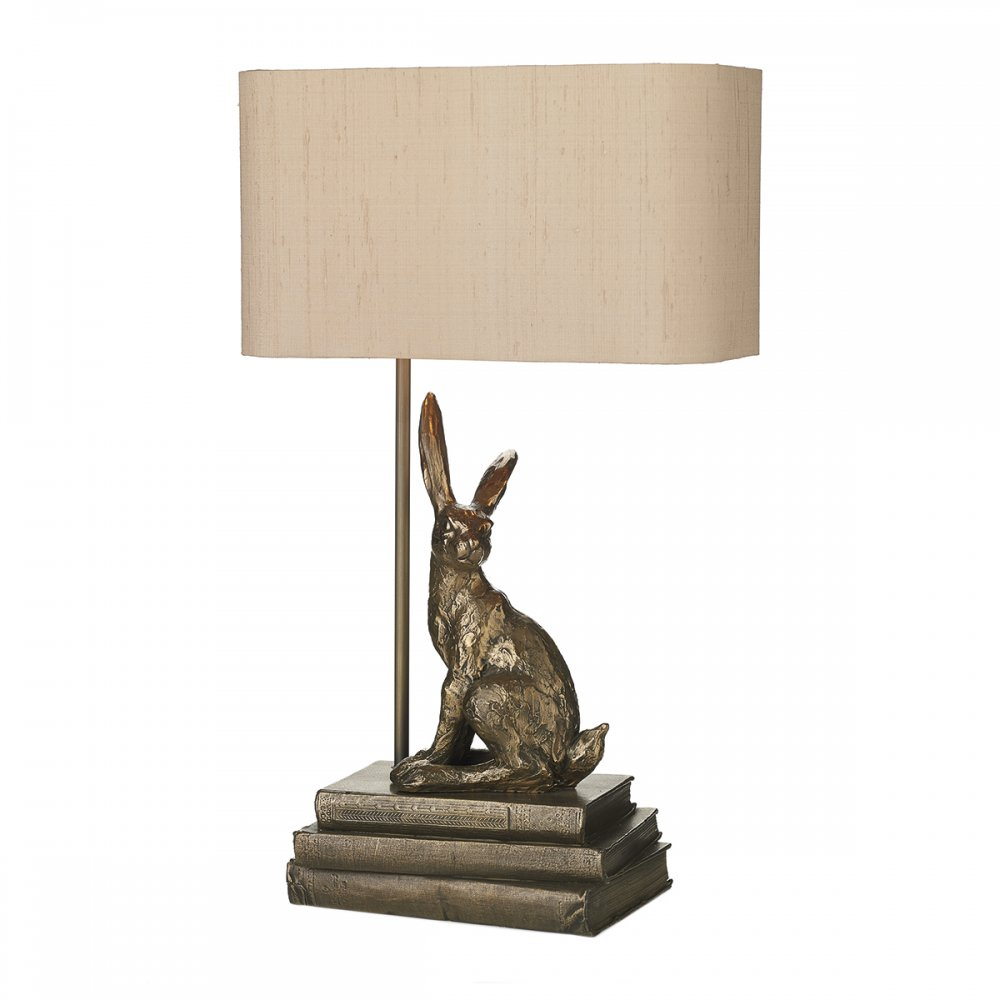 Bronze Hopper Hare Table Lamp With Taupe Silk Shade UK