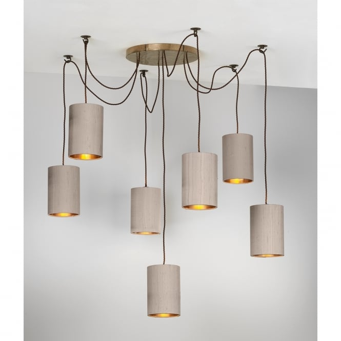 Artisan Lighting HUCKLEBERRY 7 light bronze pendant cluster with truffle silk shades