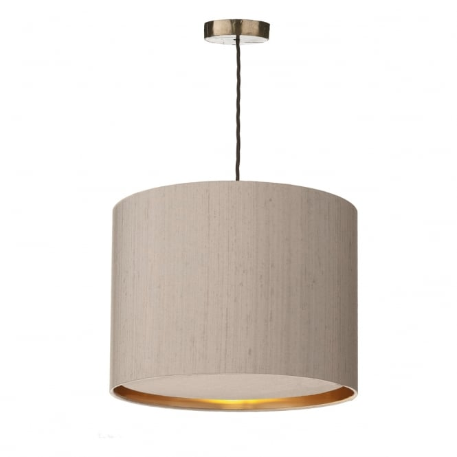 David Hunt Lighting HUCKLEBERRY ceiling pendant with truffle silk shade and baffle diffuser