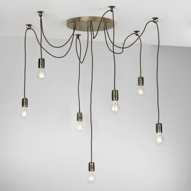 Multiple Pendant Light Cluster With 7 Lights Hanging On