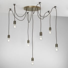 HUCKLEBERRY cluster of 7 pendant lights with ceiling hooks - bronze finish