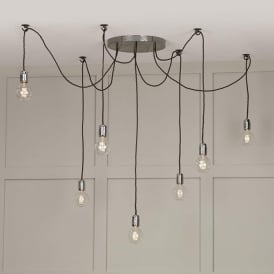 HUCKLEBERRY cluster of 7 pendant lights with ceiling hooks - lead finish