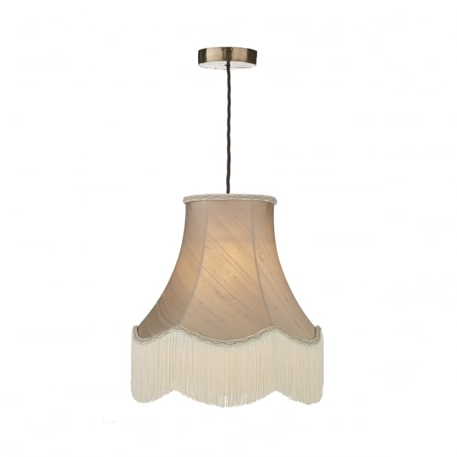 David Hunt Lighting HUCKLEBERRY traditional bronze ceiling pendant with fringed taupe silk shade