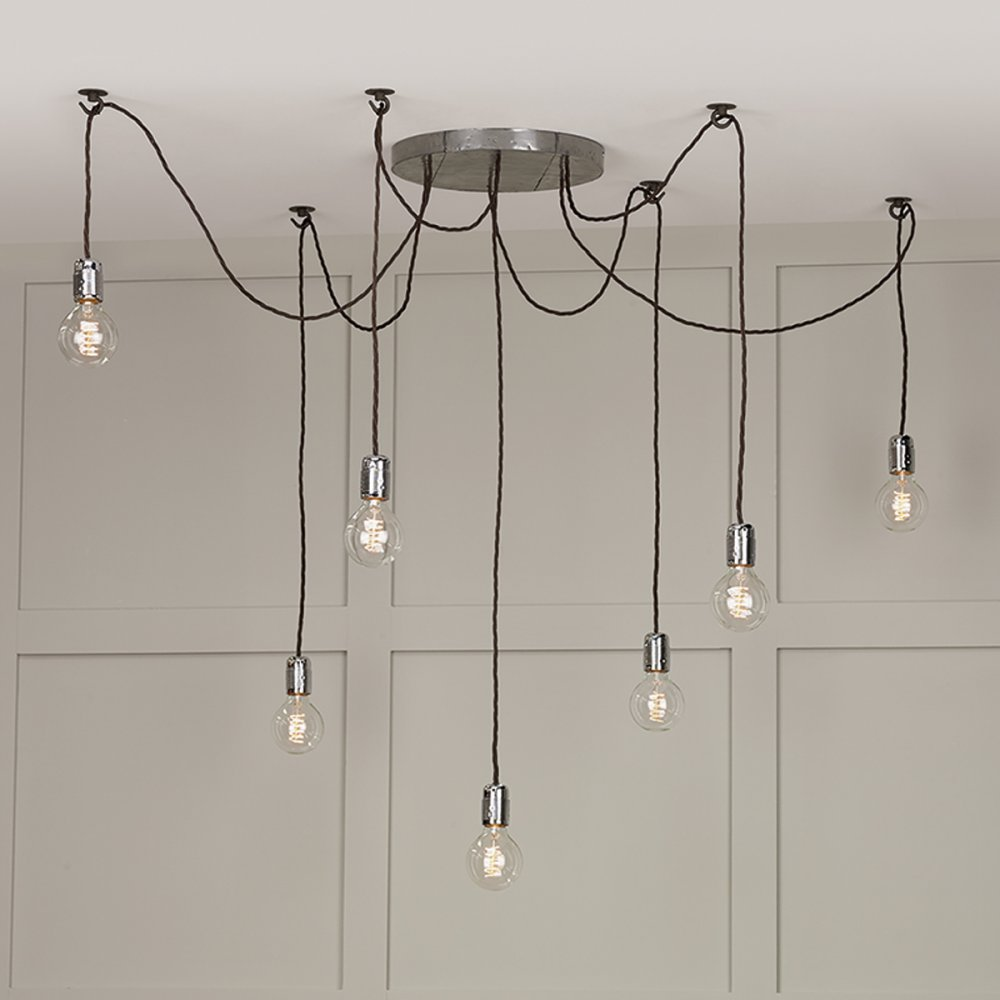 Wall Hooks For Hanging Lights : 7 Light Cluster Ceiling Pendant, Hang Lights Using Individual Hooks