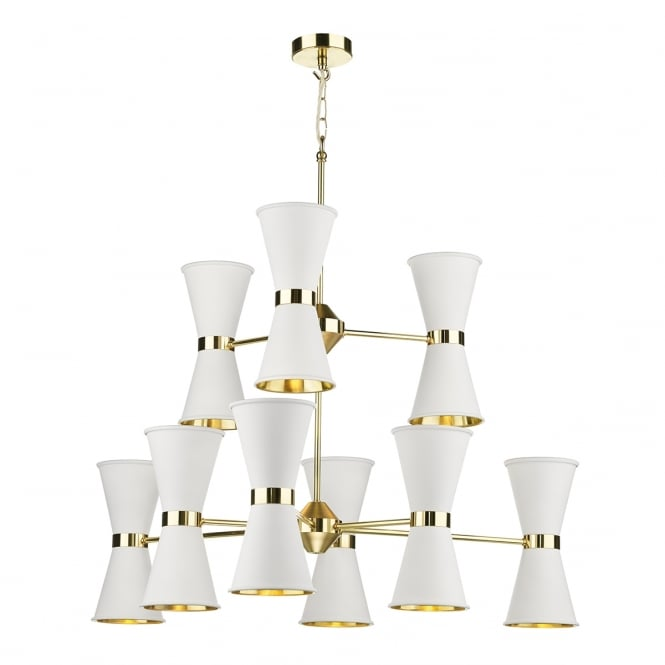 Artisan Lighting HYDE large modern mid-century gold ceiling light with white cone shades