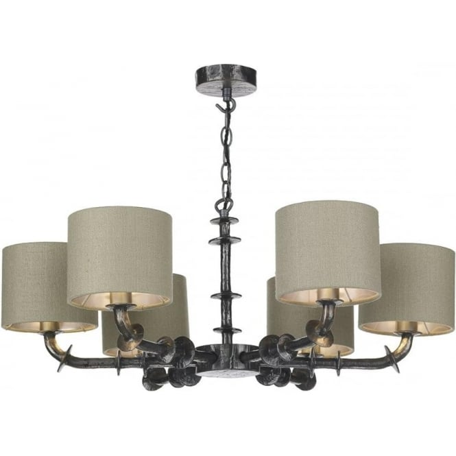 Artisan Lighting ICARUS dual mount 6 arm ceiling light with grey silk shades