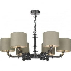 ICARUS dual mount 6 arm ceiling light with grey silk shades