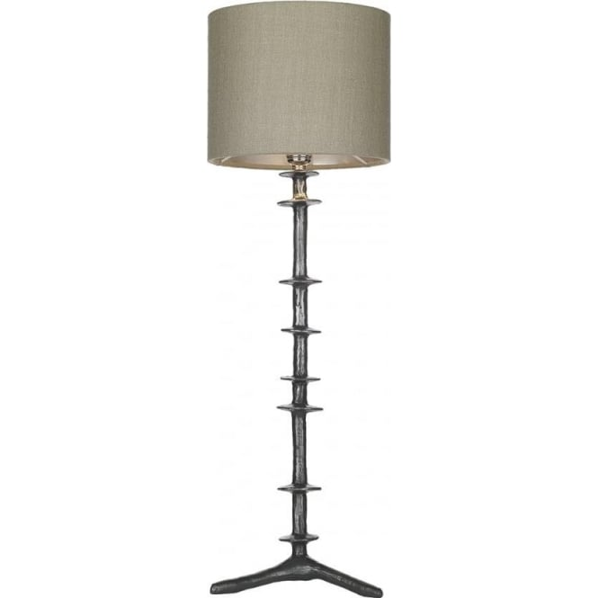 Artisan Lighting ICARUS tall traditional steel table lamp with grey silk shade