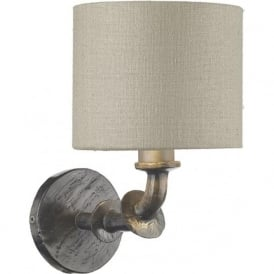 ICARUS traditional single wall light in grey steel finish with silk shade