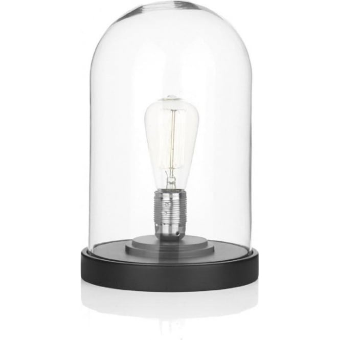 Dome clear glass table lamp on black base use with vintage bulbs jefferson cloche glass dome table lamp black base aloadofball Gallery