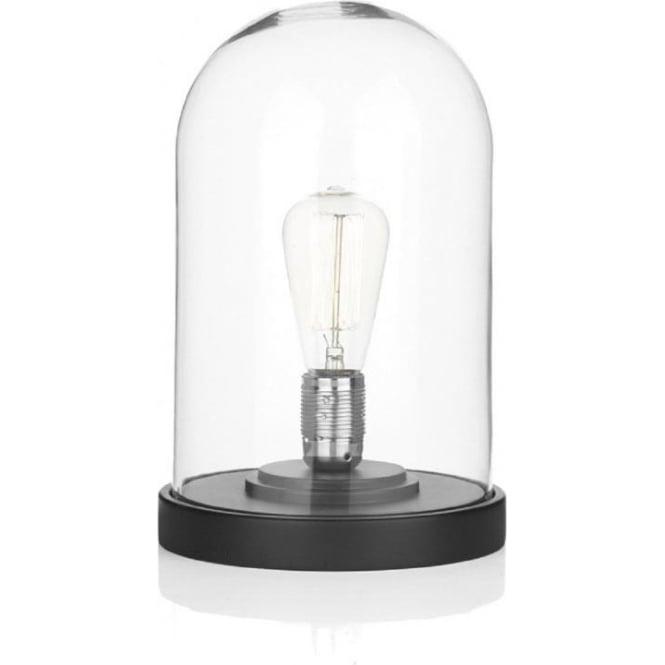 JEFFERSON Cloche Glass Dome Table Lamp   Black Base