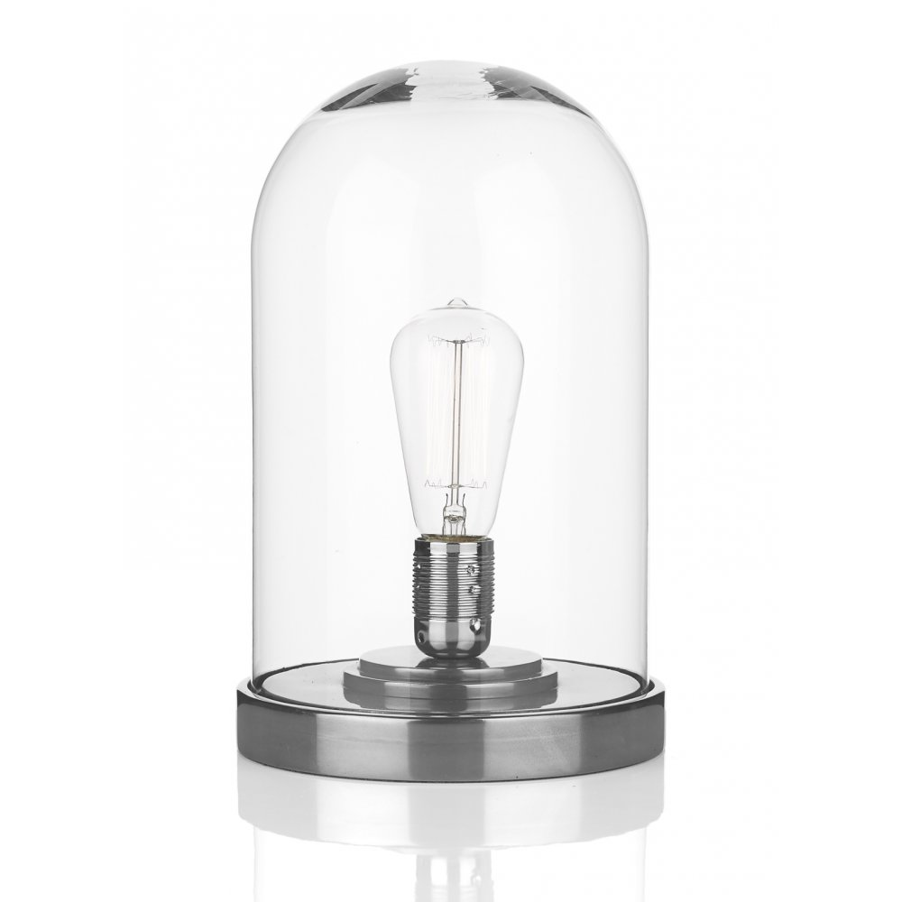 clear glass cloche dome table lamp on pewter base made in uk. Black Bedroom Furniture Sets. Home Design Ideas