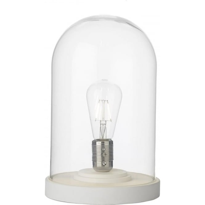 Artisan Lighting JEFFERSON cloche glass dome table lamp - white base