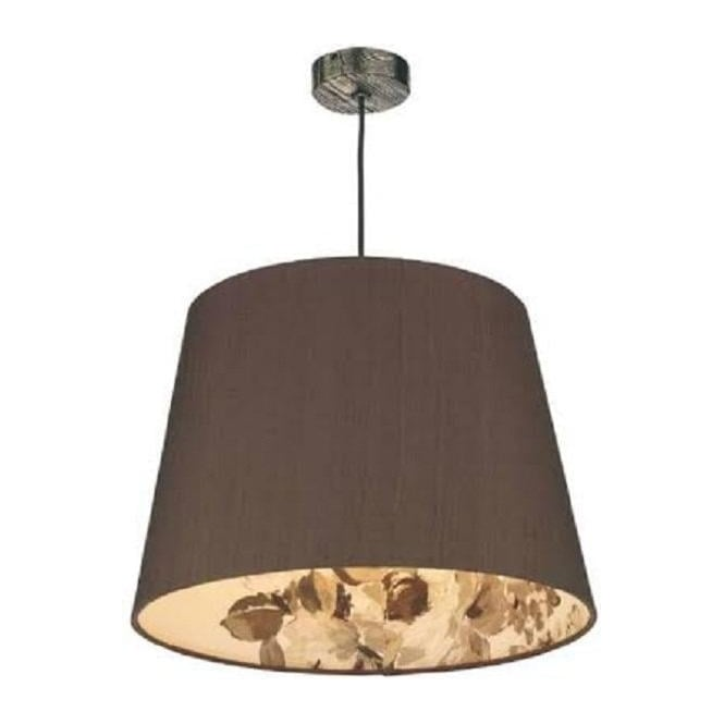 Artisan Lighting JOSHUA bronze ceiling pendant with nutmeg floral lined shade