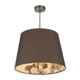 JOSHUA bronze ceiling pendant with nutmeg floral lined shade