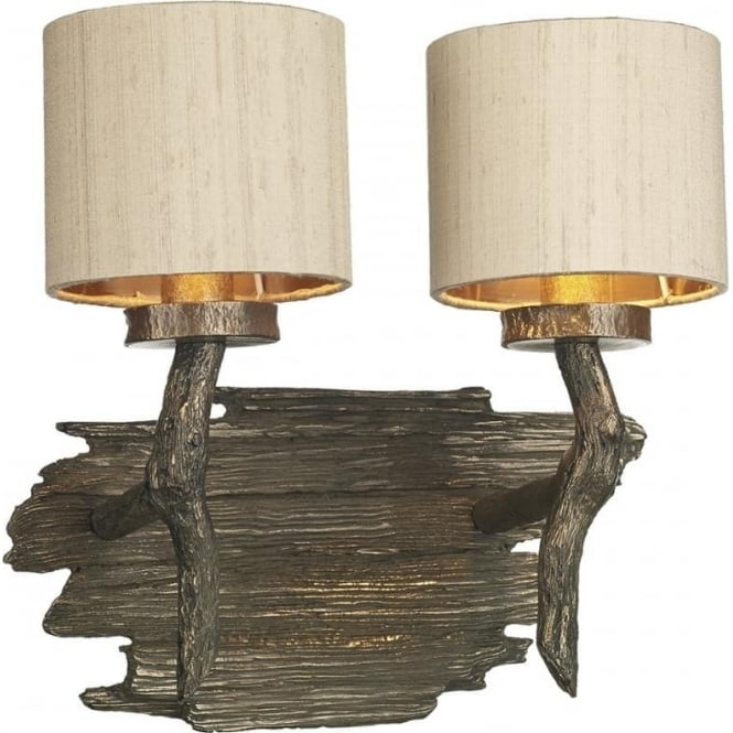 David Hunt Lighting JOSHUA bronze driftwood effect double wall light with taupe shades