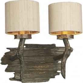 JOSHUA bronze driftwood effect double wall light with taupe shades