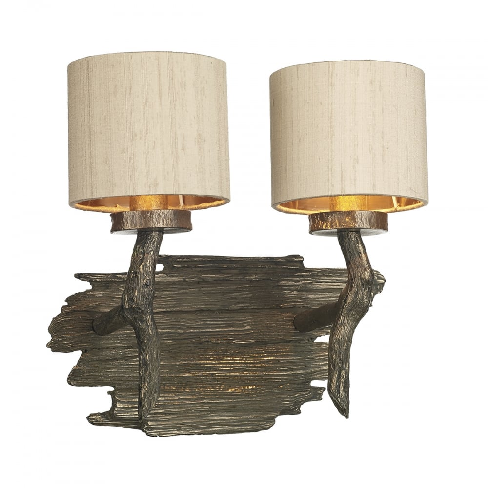 Double Wall Light in Driftwood Effect Bronze with Taupe Silk Shades