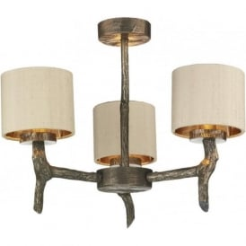 JOSHUA bronze driftwood effect dual mount 3 arm ceiling light
