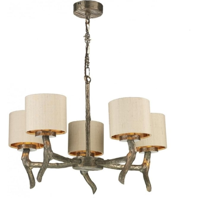 Artisan Lighting JOSHUA bronze driftwood effect dual mount 5 arm ceiling light