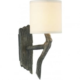 JOSHUA bronze driftwood effect wall light with cream shade