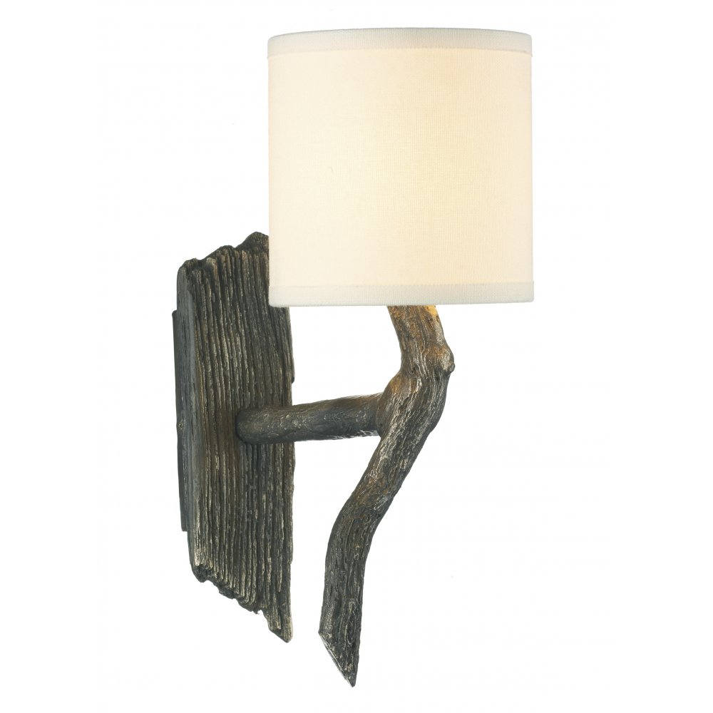 wall light joshua driftwood effect bronze rustic style