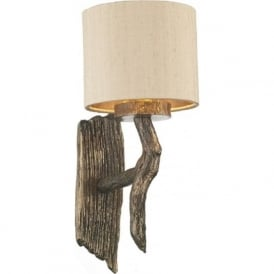 JOSHUA bronze driftwood effect wall light with taupe shade