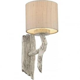 JOSHUA distressed ivory driftwood wall light with shade