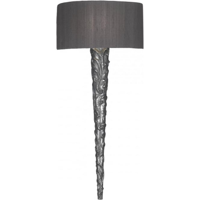 David Hunt Lighting KNURL Medieval style pewter wall sonce with silk shade