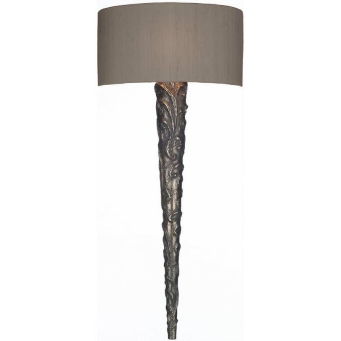 Artisan Lighting KNURL Medieval torch style bronze wall light with silk shade