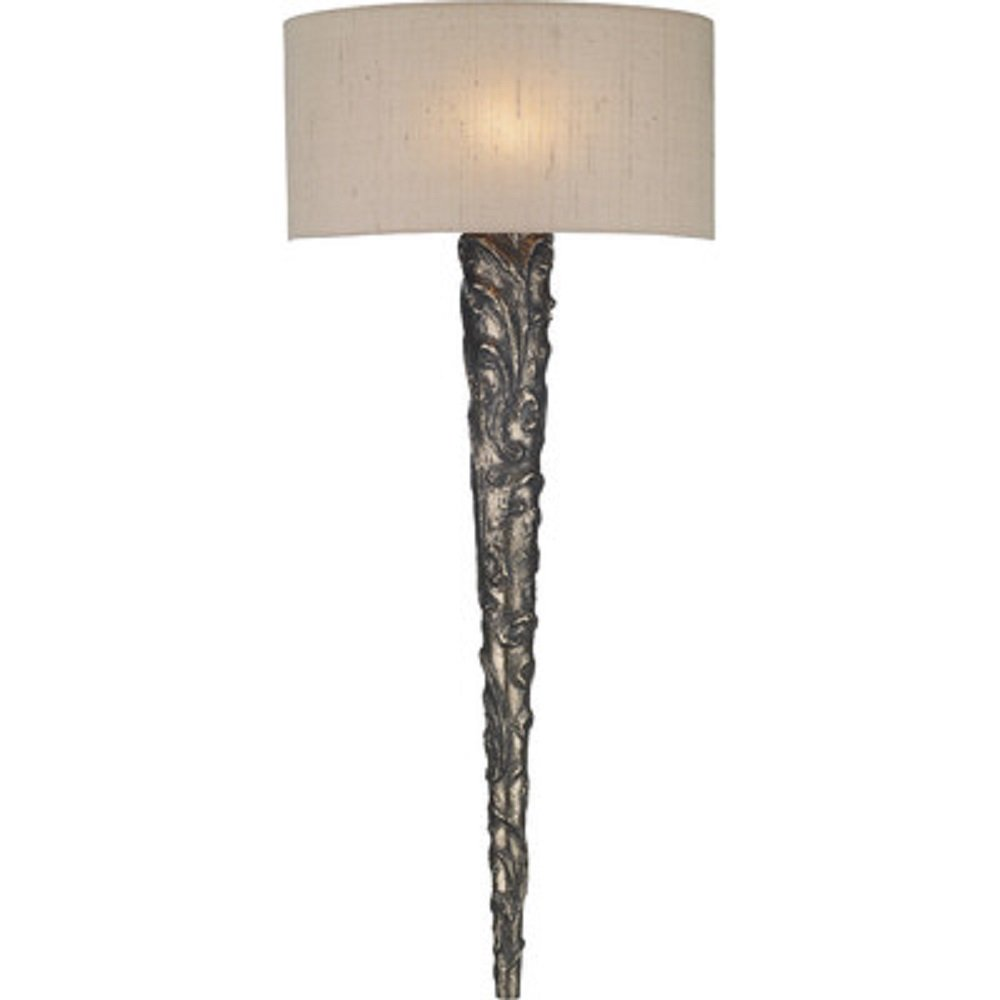 Pewter Torch Style Wall Light With Taupe Silk Shade Uk