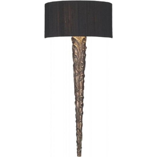 Artisan Lighting KNURL traditional copper wall sconce with black silk shade