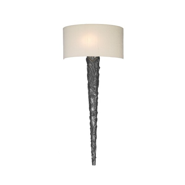 Large Wall Light KNURL Ornate Pewter Sconce With Natural Weave Shade
