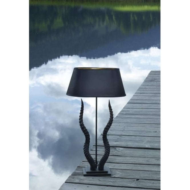 KUDU Unusual Black Gold Horn Table Lamp With Black Shade