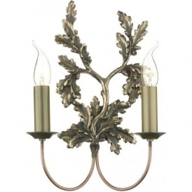 LEAF traditional double bronze wall light
