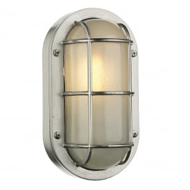 LIGHTHOUSE nautical style bulkhead wall light in nickel finish