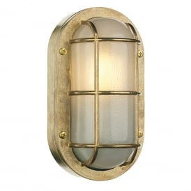 LIGHTHOUSE nautical style bulkhead wall light in solid cast brass