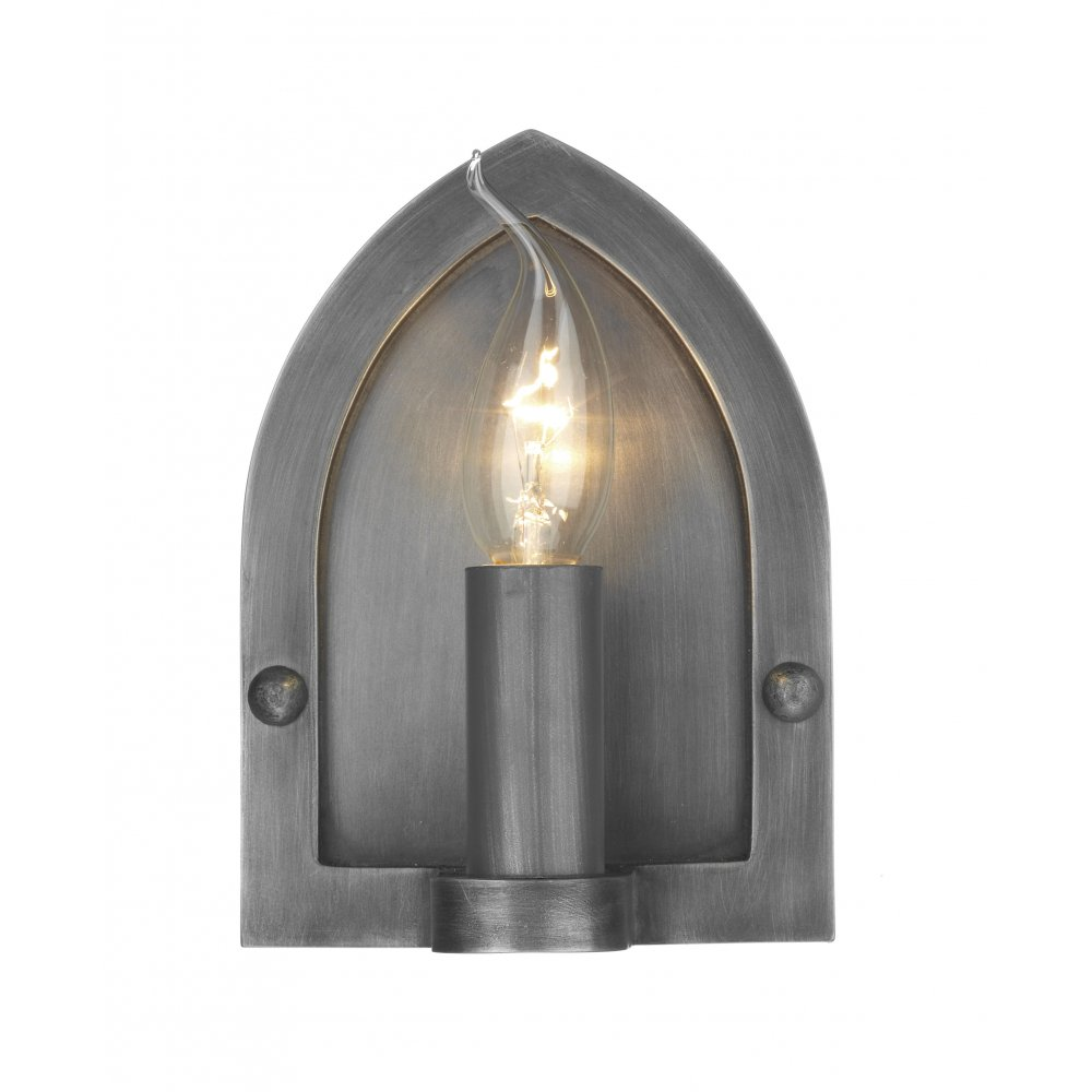 British Made Wall Lights : Wall Light Pewter Medieval Gothic Arts and Crafts Rustic Wall Sconce.