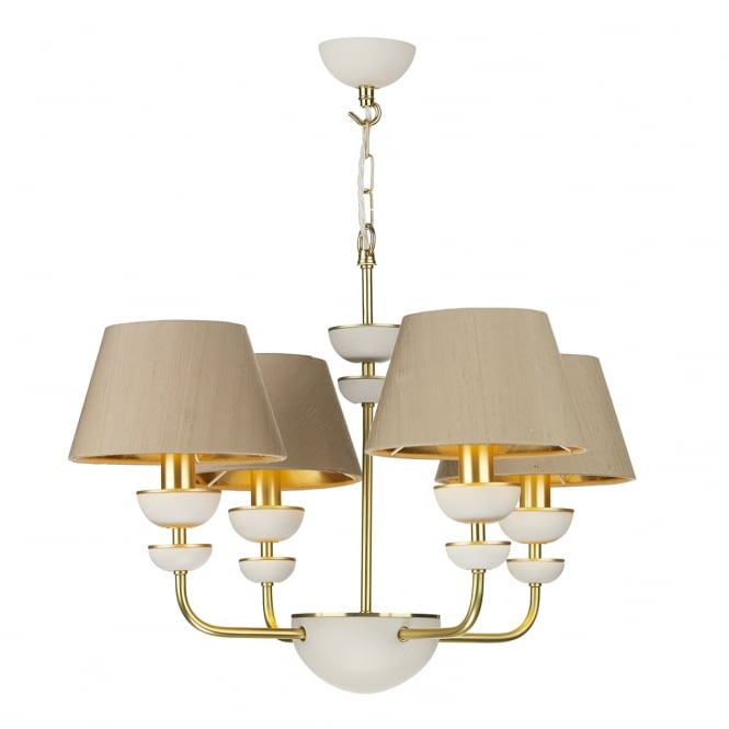 Artisan Lighting LUNAR modern brass and ivory stone ceiling light with taupe silk shades