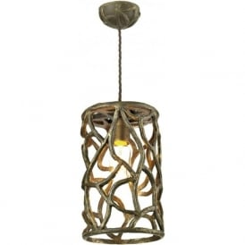 LYRA small antique brown gold hanging ceiling pendant light