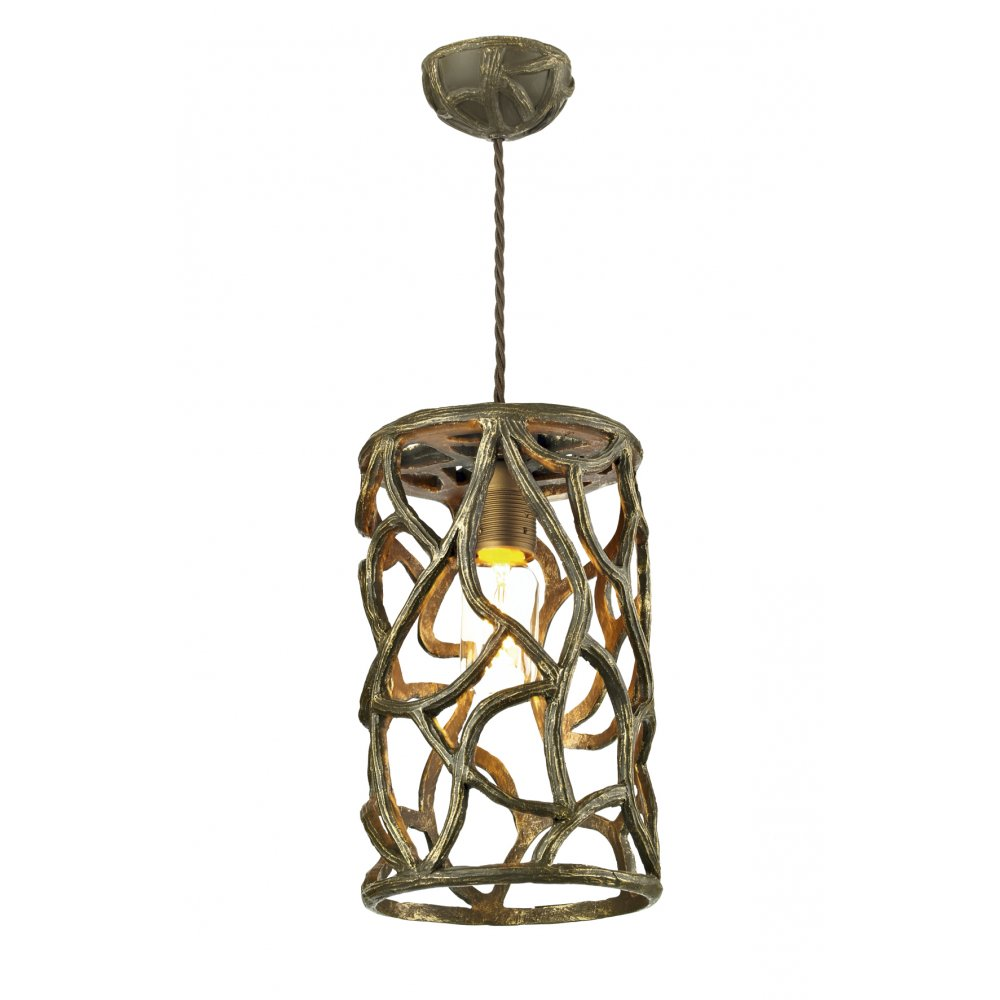 Small Cocoa Gold Ceiling Pendant Light In Unusual Twig Design