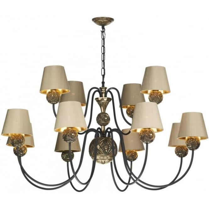 David Hunt Lighting NOVELLA large traditional bronze ceiling pendant with silk shades