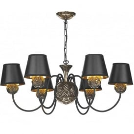 NOVELLA traditional black and bronze 6 light ceiling pendant